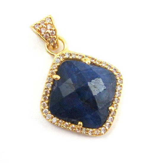Wholesale Gold plated Sterling Silver Blue Sapphire Dyed Bezel Gemstone Diamond Shape Pave Pendant, Wholesale Gemstone Pendants for Jewelry Making
