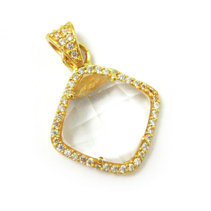 Wholesale Gold plated Sterling Silver Crystal Quartz Bezel Gemstone Diamond Shape Pave Pendant, Wholesale Gemstone Pendants for Jewelry Making