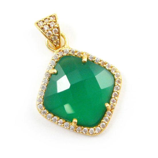 Wholesale Gold plated Sterling Silver Green Onyx Bezel Gemstone Diamond Shape Pave Pendant, Wholesale Gemstone Pendants for Jewelry Making