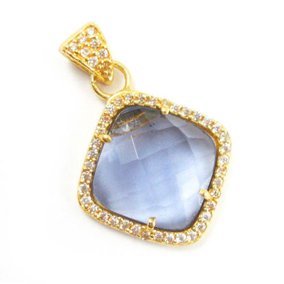 Wholesale Gold plated Sterling Silver Iolite Quartz Bezel Gemstone Diamond Shape Pave Pendant, Wholesale Gemstone Pendants for Jewelry Making