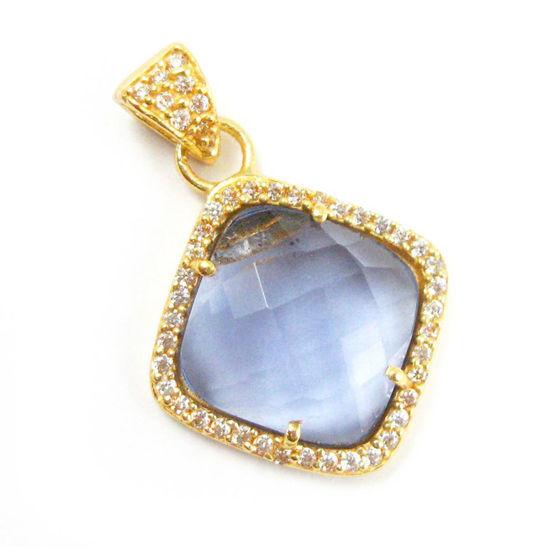Wholesale Gold plated Sterling Silver Iolite Quartz Bezel Gemstone Diamond Shape Pave Pendant, Wholesale Gemstone Pendants for Jewelry Making