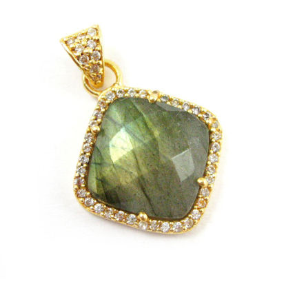 Wholesale Gold plated Sterling Silver Labradorite Bezel Gemstone Diamond Shape Pave Pendant, Wholesale Gemstone Pendants for Jewelry Making