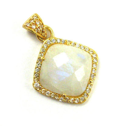 Wholesale Gold plated Sterling Silver Moonstone Bezel Gemstone Diamond Shape Pave Pendant, Wholesale Gemstone Pendants for Jewelry Making