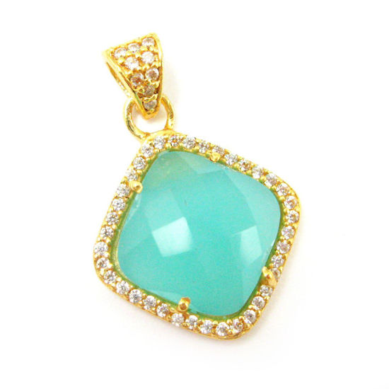 Wholesale Gold plated Sterling Silver Peru Chalcedony Bezel Gemstone Diamond Shape Pave Pendant, Wholesale Gemstone Pendants for Jewelry Making
