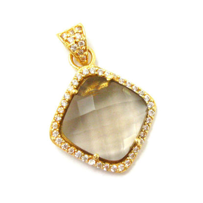Wholesale Gold plated Sterling Silver Smokey Quartz Bezel Gemstone Diamond Shape Pave Pendant, Wholesale Gemstone Pendants for Jewelry Making