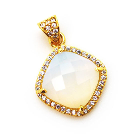 Wholesale Gold plated Sterling Silver Opalite Quartz Bezel Gemstone Diamond Shape Pave Pendant, Wholesale Gemstone Pendants for Jewelry Making