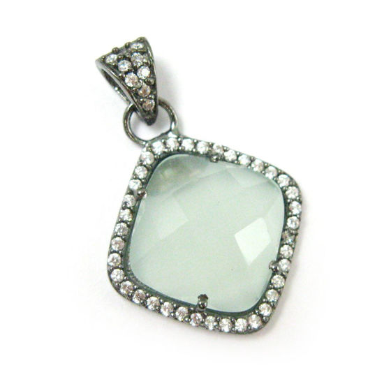 Wholesale Oxidized Sterling Silver Aqua Chalcedony Bezel Gemstone Diamond Shape Pave Pendant, Wholesale Gemstone Pendants for Jewelry Making