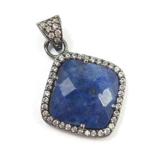 Wholesale Oxidized Sterling Silver Blue Sapphire Dyed Bezel Gemstone Diamond Shape Pave Pendant, Wholesale Gemstone Pendants for Jewelry Making