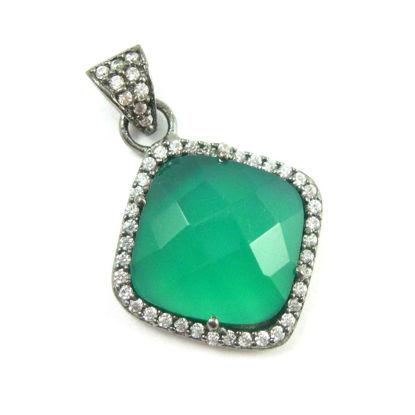 Wholesale Oxidized Sterling Silver Green Onyx Bezel Gemstone Diamond Shape Pave Pendant, Wholesale Gemstone Pendants for Jewelry Making