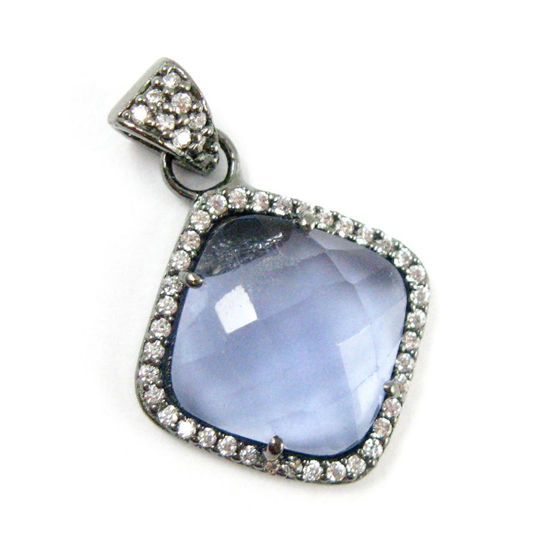 Wholesale Oxidized Sterling Silver Iolite Quartz Bezel Gemstone Diamond Shape Pave Pendant, Wholesale Gemstone Pendants for Jewelry Making