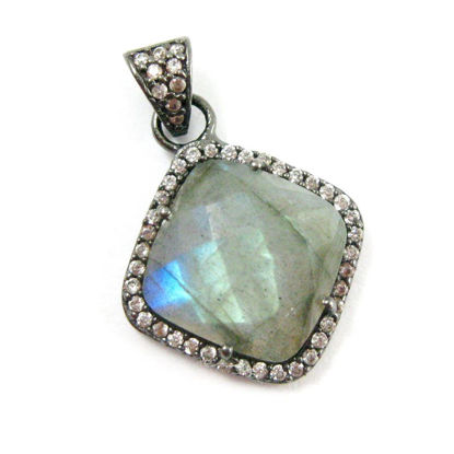 Wholesale Oxidized Sterling Silver Labradorite Bezel Gemstone Diamond Shape Pave Pendant, Wholesale Gemstone Pendants for Jewelry Making