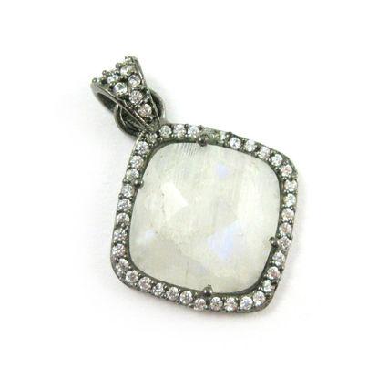 Wholesale Oxidized Sterling Silver Moonstone Bezel Gemstone Diamond Shape Pave Pendant, Wholesale Gemstone Pendants for Jewelry Making