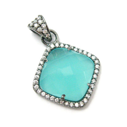 Wholesale Oxidized Sterling Silver Peru Chalcedony Bezel Gemstone Diamond Shape Pave Pendant, Wholesale Gemstone Pendants for Jewelry Making