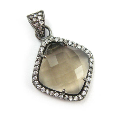 Wholesale Oxidized Sterling Silver Smokey Quartz Bezel Gemstone Diamond Shape Pave Pendant, Wholesale Gemstone Pendants for Jewelry Making