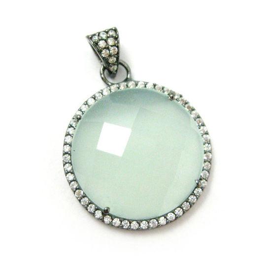 Wholesale Oxidized Sterling Silver Aqua Chalcedony Bezel Gemstone Round Pave Pendant, Wholesale Gemstone Pendants for Jewelry Making