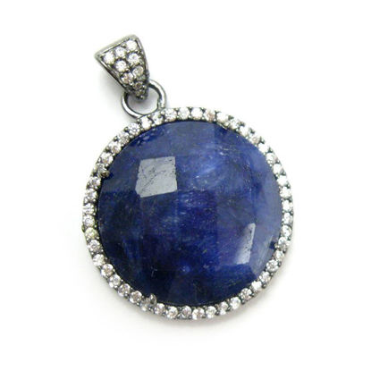 Wholesale Oxidized Sterling Silver Blue Sapphire Dyed Bezel Gemstone Round Pave Pendant, Wholesale Gemstone Pendants for Jewelry Making