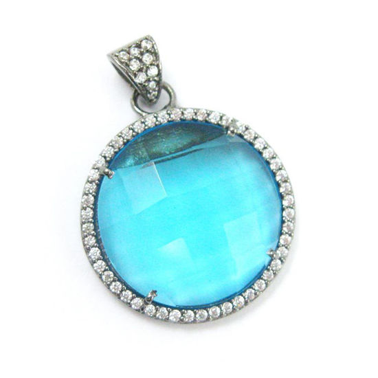 Wholesale Oxidized Sterling Silver Pave Bezel Gemstone Pendant - Cubic Zirconia Pave Setting - Round Shape Faceted Stone-Blue Topaz