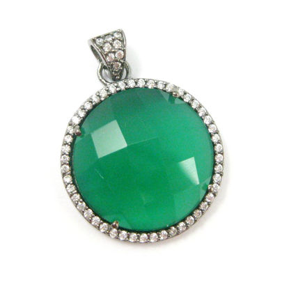 Wholesale Oxidized Sterling Silver Green Onyx Bezel Gemstone Round Pave Pendant, Wholesale Gemstone Pendants for Jewelry Making