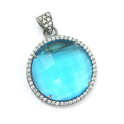 Wholesale Oxidized Sterling Silver Blue Topaz Bezel Gemstone Round Pave Pendant, Wholesale Gemstone Pendants for Jewelry Making