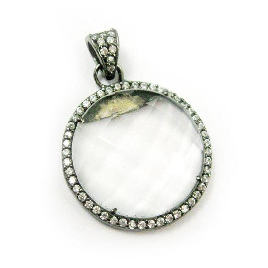 Wholesale Oxidized Sterling Silver Crystal Quartz Bezel Gemstone Round Pave Pendant, Wholesale Gemstone Pendants for Jewelry Making