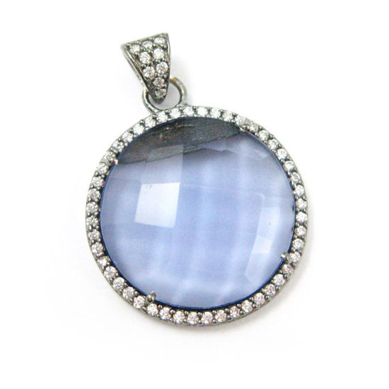 Wholesale Oxidized Sterling Silver Iolite Quartz Bezel Gemstone Round Pave Pendant, Wholesale Gemstone Pendants for Jewelry Making