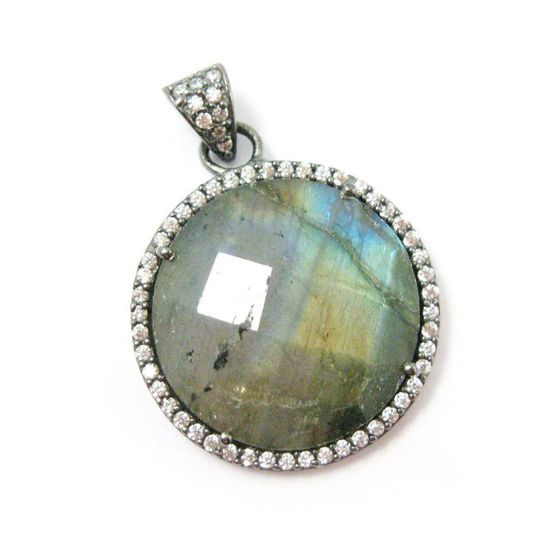 Wholesale Oxidized Sterling Silver Labradorite Bezel Gemstone Round Pave Pendant, Wholesale Gemstone Pendants for Jewelry Making