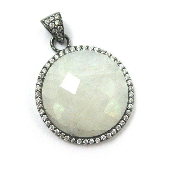 Wholesale Oxidized Sterling Silver Moonstone Bezel Gemstone Round Pave Pendant, Wholesale Gemstone Pendants for Jewelry Making