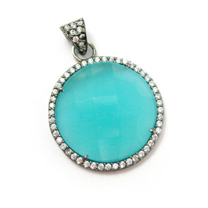 Wholesale Oxidized Sterling Silver Peru Chalcedony Bezel Gemstone Round Pave Pendant, Wholesale Gemstone Pendants for Jewelry Making