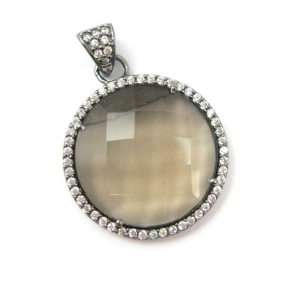 Wholesale Oxidized Sterling Silver Smokey Quartz Bezel Gemstone Round Pave Pendant, Wholesale Gemstone Pendants for Jewelry Making
