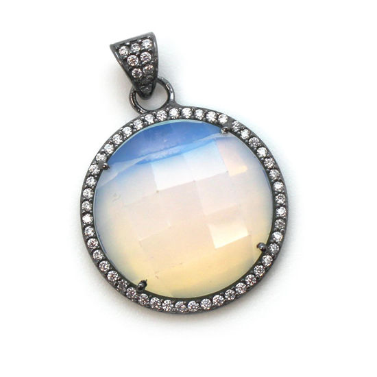 Wholesale Oxidized Sterling Silver Opalite Quartz Bezel Gemstone Round Pave Pendant, Wholesale Gemstone Pendants for Jewelry Making