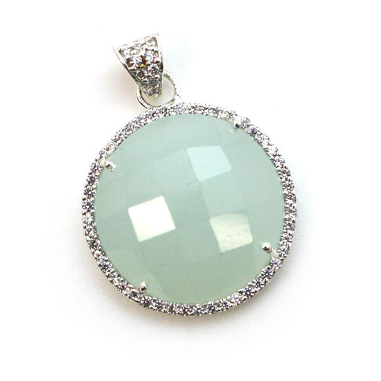 Wholesale Sterling Silver Aqua Chalcedony Bezel Gemstone Round Pave Pendant, Wholesale Gemstone Pendants for Jewelry Making