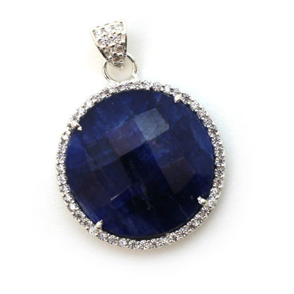 Wholesale Sterling Silver Dyed Blue Sapphire Bezel Gemstone Round Pave Pendant, Wholesale Gemstone Pendants for Jewelry Making