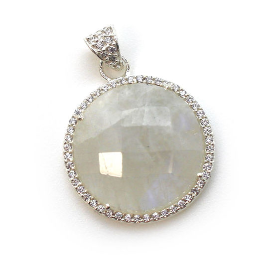 Wholesale Sterling Silver Moonstone Bezel Gemstone Round Pave Pendant, Wholesale Gemstone Pendants for Jewelry Making