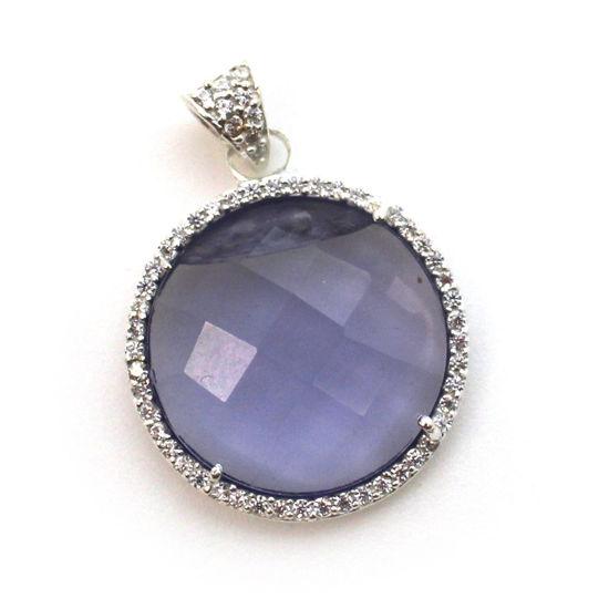 Wholesale Sterling Silver Iolite Quartz Bezel Gemstone Round Pave Pendant, Wholesale Gemstone Pendants for Jewelry Making