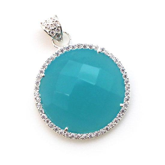 Wholesale Sterling Silver Peru Chalcedony Bezel Gemstone Round Pave Pendant, Wholesale Gemstone Pendants for Jewelry Making