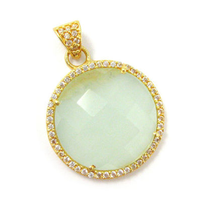 Wholesale Gold plated Sterling Silver Aqua Chalcedony Bezel Gemstone Round Pave Pendant, Wholesale Gemstone Pendants for Jewelry Making
