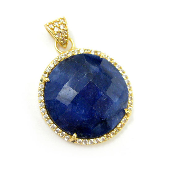 Wholesale Gold plated Sterling Silver Blue Sapphire Dyed Bezel Gemstone Round Pave Pendant, Wholesale Gemstone Pendants for Jewelry Making