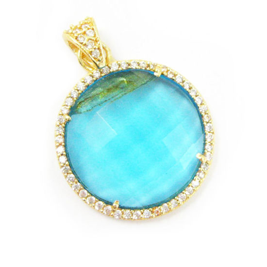 Wholesale Gold plated Sterling Silver Blue Topaz Quartz Bezel Gemstone Round Pave Pendant, Wholesale Gemstone Pendants for Jewelry Making