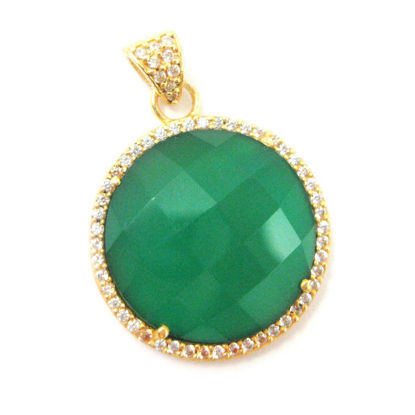Wholesale Gold plated Sterling Silver Green Onyx Bezel Gemstone Round Pave Pendant, Wholesale Gemstone Pendants for Jewelry Making