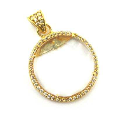 Wholesale Gold plated Sterling Silver Crystal Quartz Bezel Gemstone Round Pave Pendant, Wholesale Gemstone Pendants for Jewelry Making
