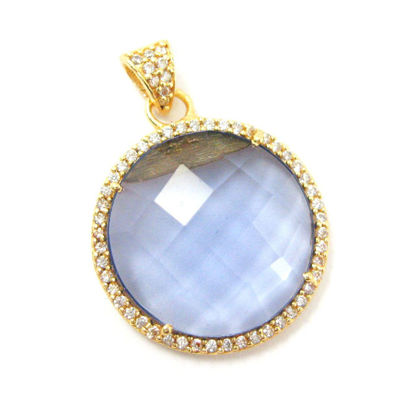 Wholesale Gold plated Sterling Silver Iolite Quartz  Bezel Gemstone Round Pave Pendant, Wholesale Gemstone Pendants for Jewelry Making