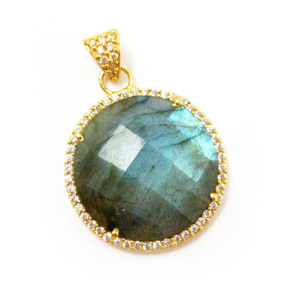 Wholesale Gold plated Sterling Silver Labradorite Bezel Gemstone Round Pave Pendant, Wholesale Gemstone Pendants for Jewelry Making