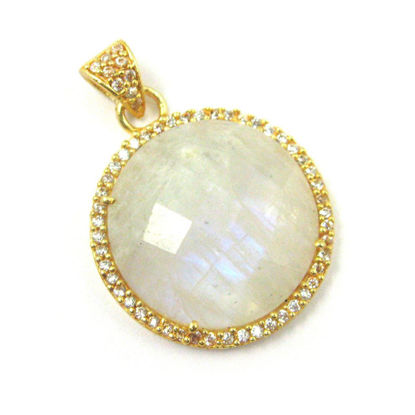Wholesale Gold plated Sterling Silver Moonstone  Bezel Gemstone Round Pave Pendant, Wholesale Gemstone Pendants for Jewelry Making