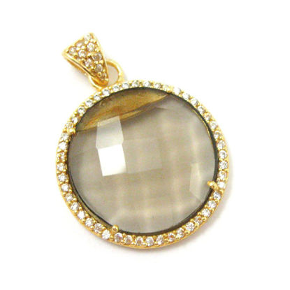 Wholesale Gold plated Sterling Silver Smokey Quartz Bezel Gemstone Round Pave Pendant, Wholesale Gemstone Pendants for Jewelry Making