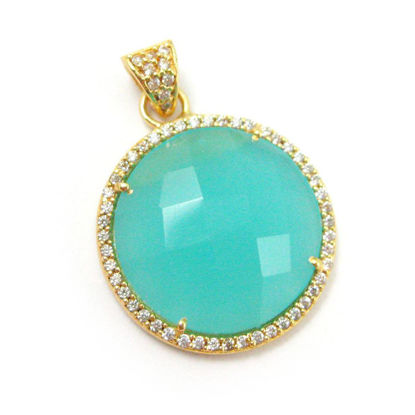 Wholesale Gold plated Sterling Silver Peru Chalcedony Bezel Gemstone Round Pave Pendant, Wholesale Gemstone Pendants for Jewelry Making