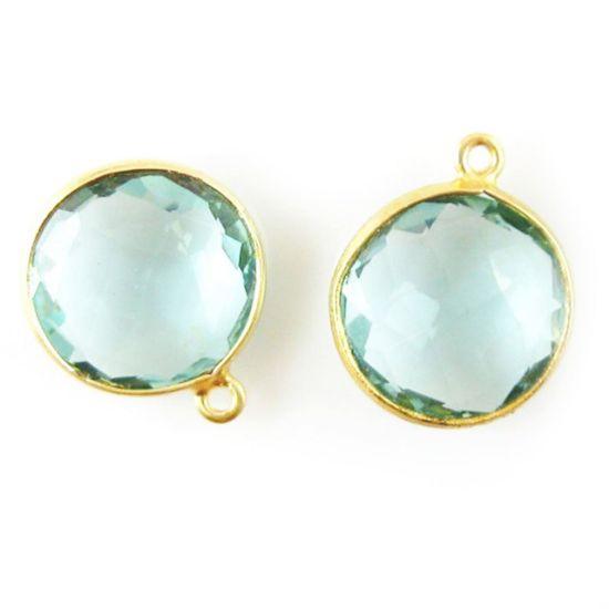 Wholesale Gold plated Sterling Silver Round Bezel Aqua Quartz Gemstone Pendant, Wholesale Gemstone Pendants for Jewelry Making