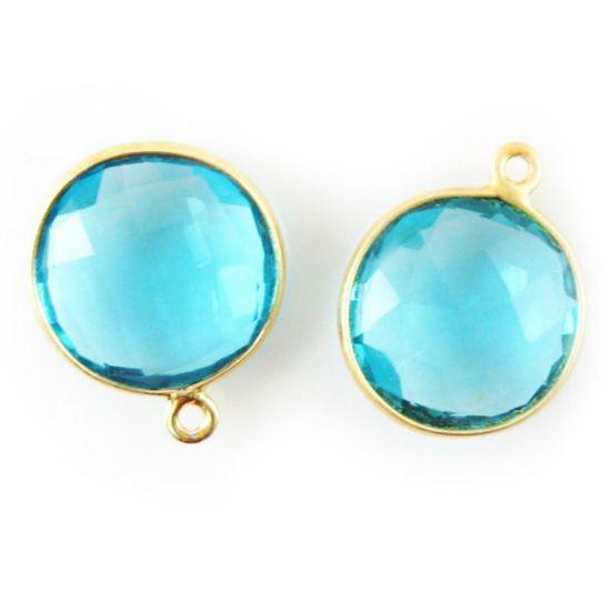 Wholesale Gold plated Sterling Silver Round Bezel Blue Quartz Gemstone Pendant, Wholesale Gemstone Pendants for Jewelry Making