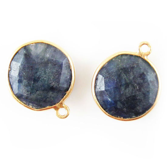 Wholesale Gold plated Sterling Silver Round Bezel Dyed Blue Sapphire Gemstone Pendant, Wholesale Gemstone Pendants for Jewelry Making