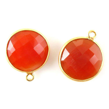 Wholesale Gold plated Sterling Silver Round Bezel Carnelian Gemstone Pendant, Wholesale Gemstone Pendants for Jewelry Making