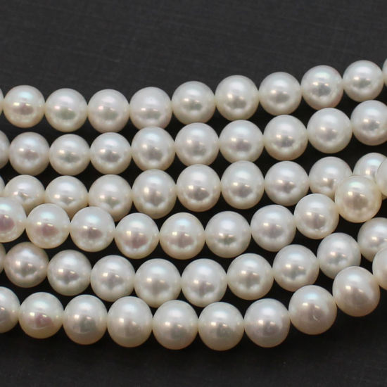 Wholesale White Freshwater Pearl Off Round 7-8mm Beads (1 strand)